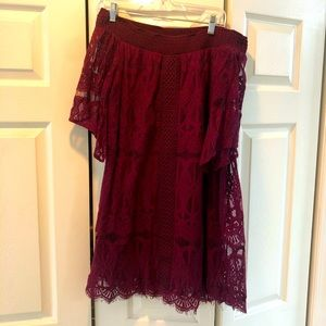 Off the shoulder lace maroon dress.